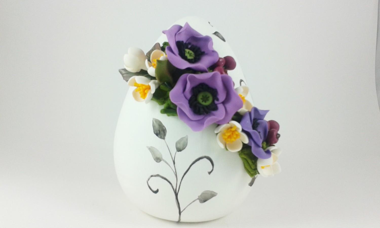 Uova Di Ceramica Dipinte A Mano.Uovo Decorato In Ceramica
